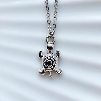 Schildpad ketting zilver