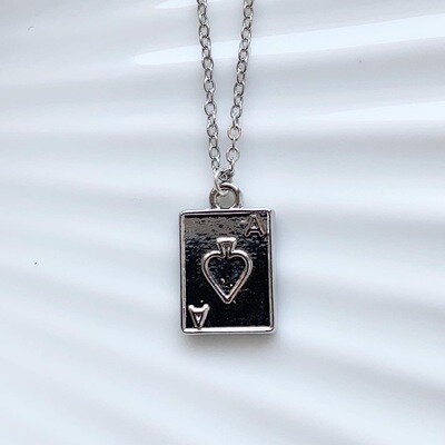 Ace of spades ketting zilver