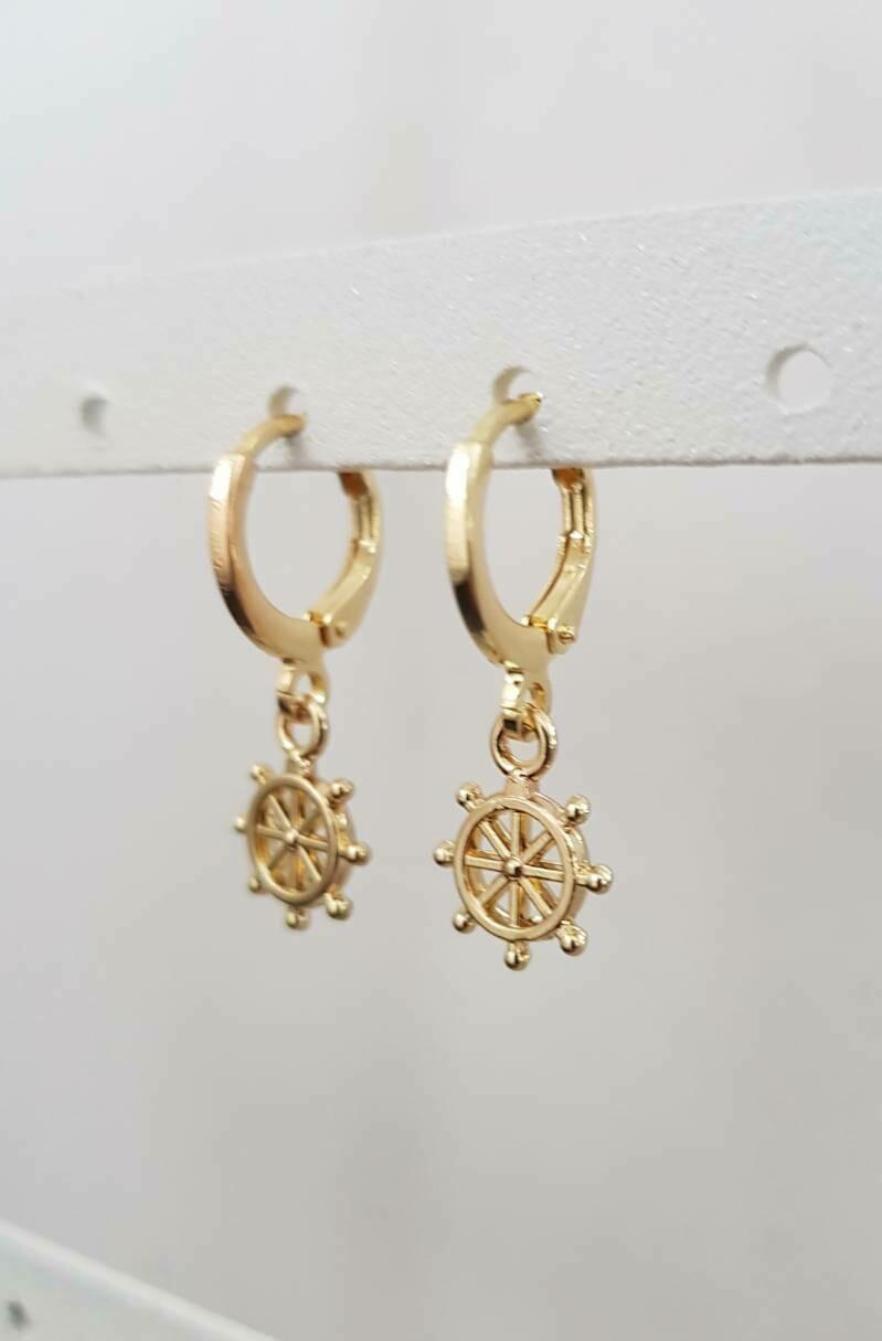 Tiny wheel oorbellen goud