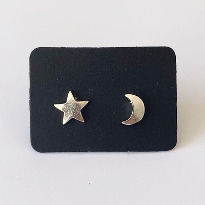 Star and moon knopjes 925 sterling zilver