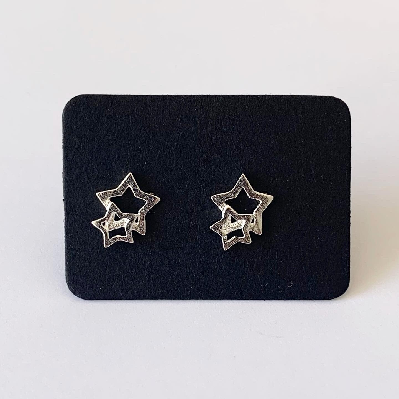 Dubbele sterren knopjes 925 sterling zilver