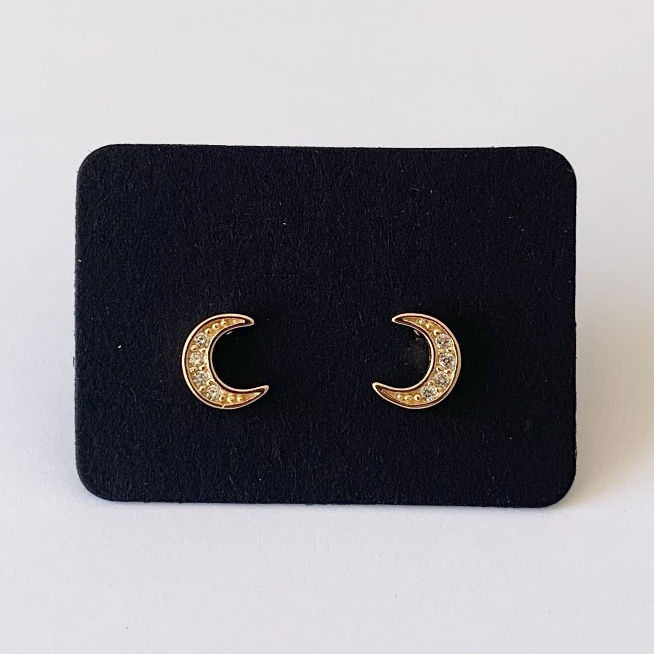 Tiny moon knopjes met strass steentjes gold plated