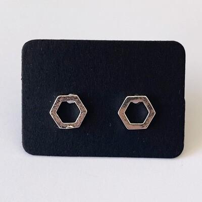 Minimalistische hexagon knopjes 925 sterling zilver