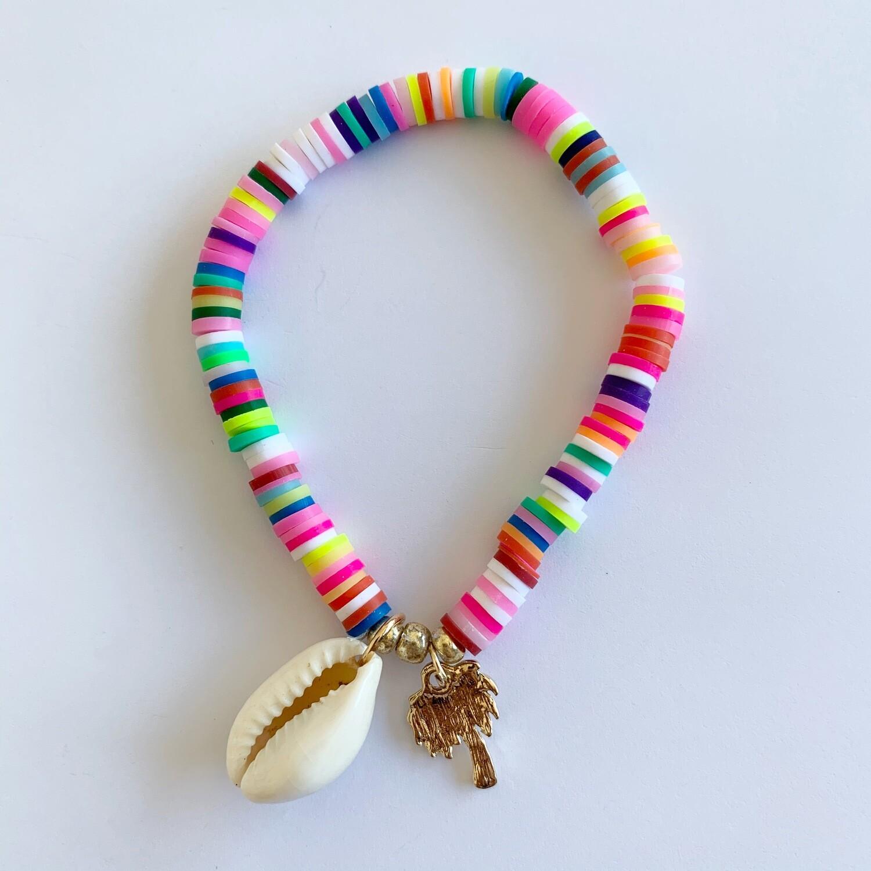 Gekleurde armband met schelp en palmboom