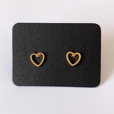 Open heart knopjes gold plated