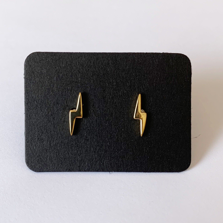 Tiny lightning knopjes gold plated