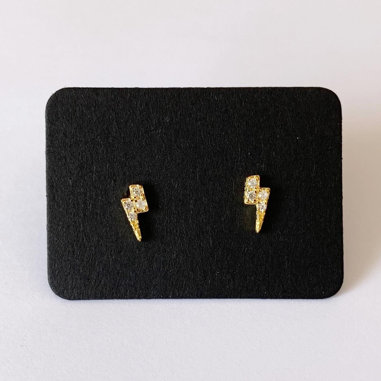 Tiny lighting knopjes met strass steentjes gold plated