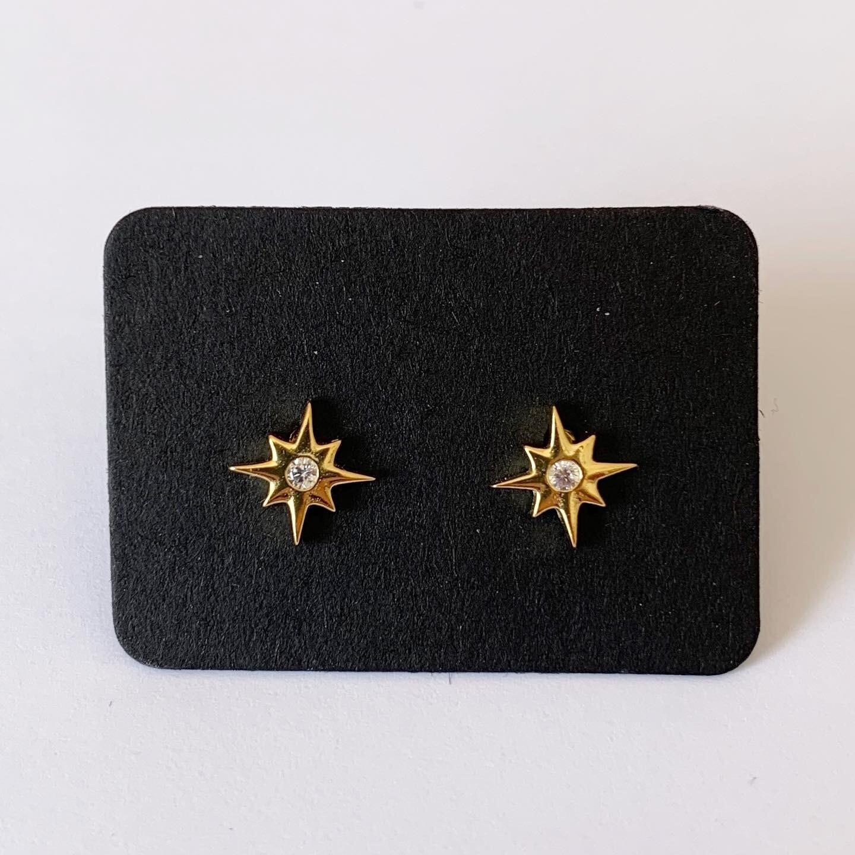 Star knopjes met strass steentje gold plated