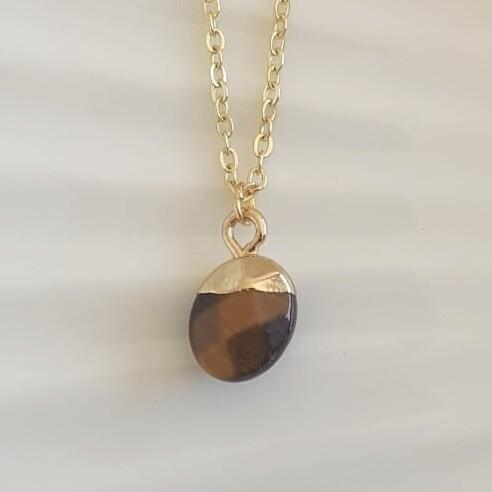 Ronde natuursteen ketting bruin/goud