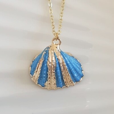 Blauwe schelpen ketting goud