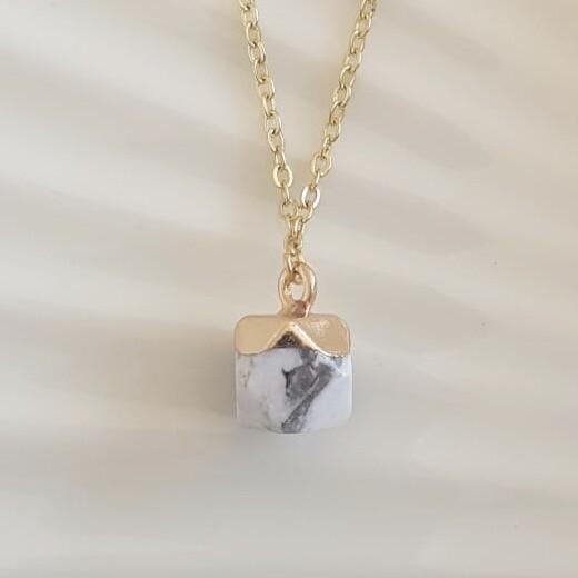 Marmerprint natuursteen ketting goud