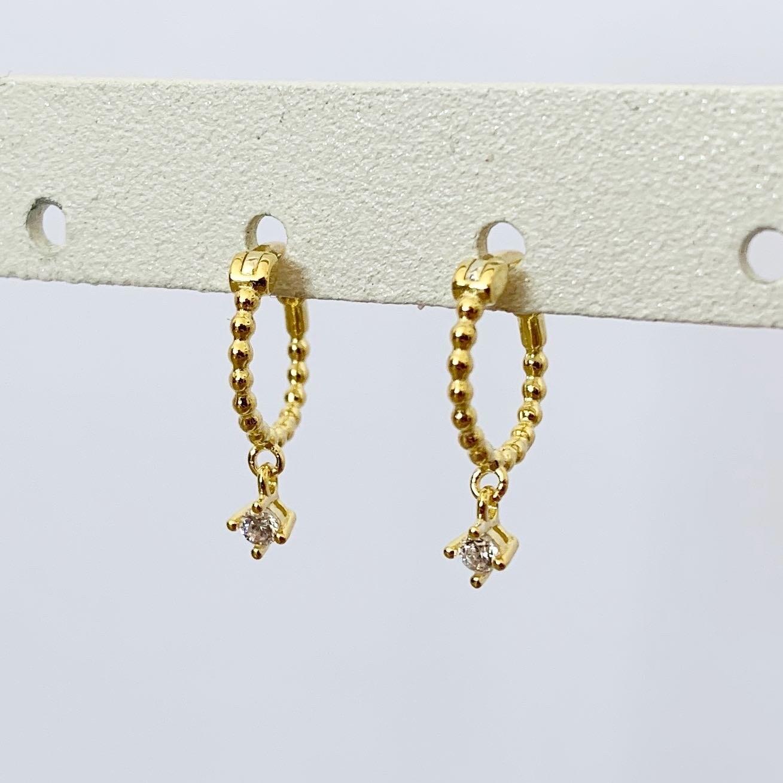 Oorringetjes met hangend steentje gold plated