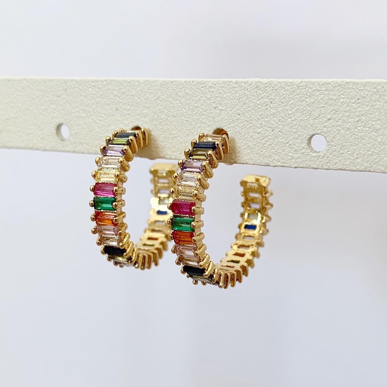 Rainbow oorringetjes goud