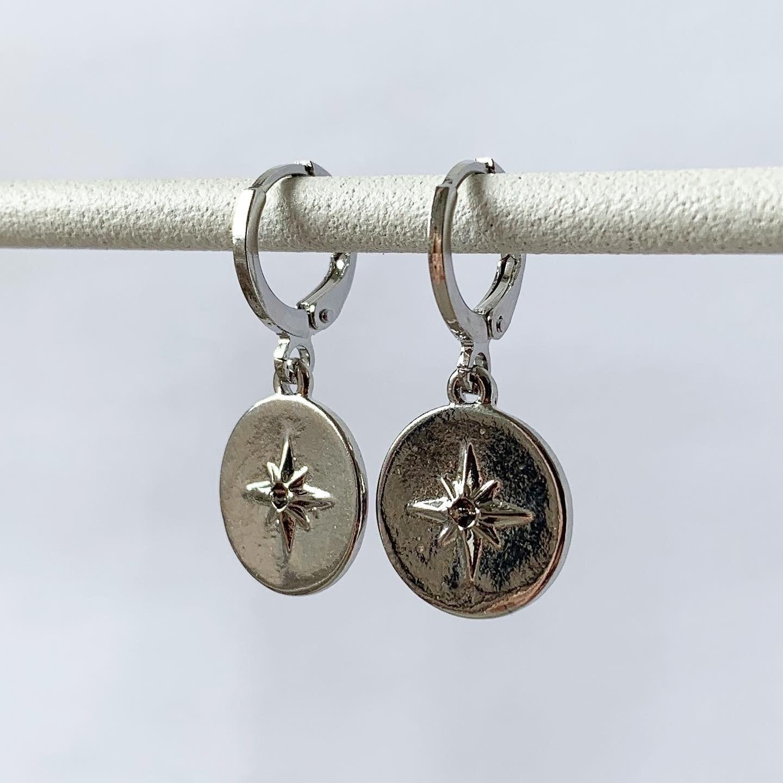 Shimmering star oorbellen zilver