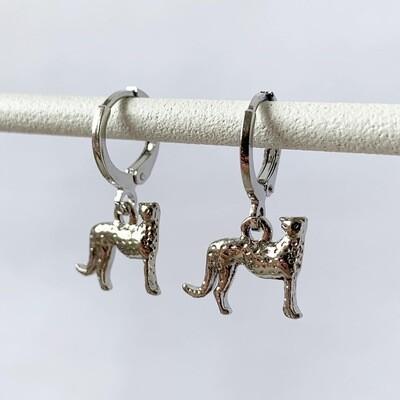 Luipaard oorbellen zilver