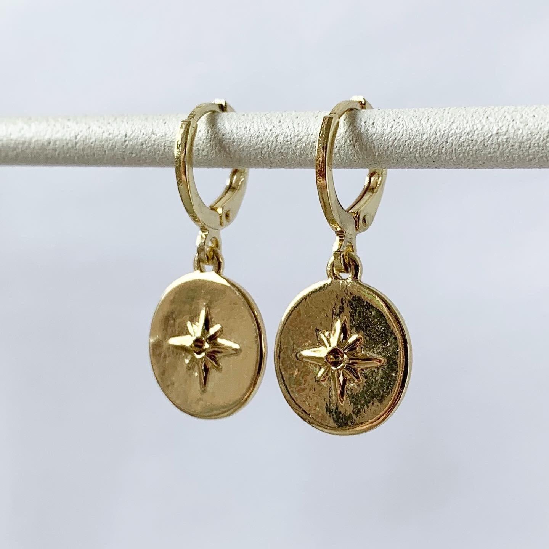 Shimmering star oorbellen goud