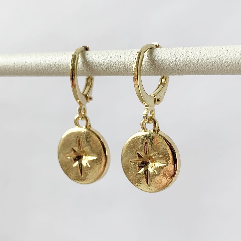 Falling star oorbellen goud