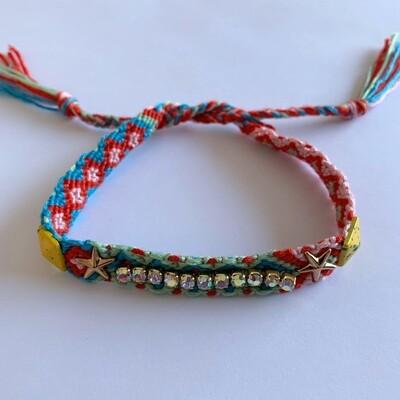 BOHO geweven armbandje met strass steentjes
