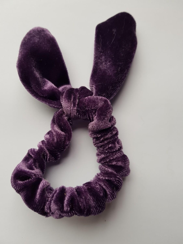 Bunny oortjes scrunchie paars