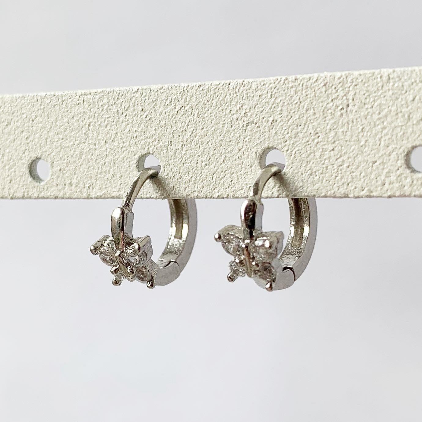 Vlinder oorringetjes 925 sterling zilver met zirkonia steentjes 8 mm