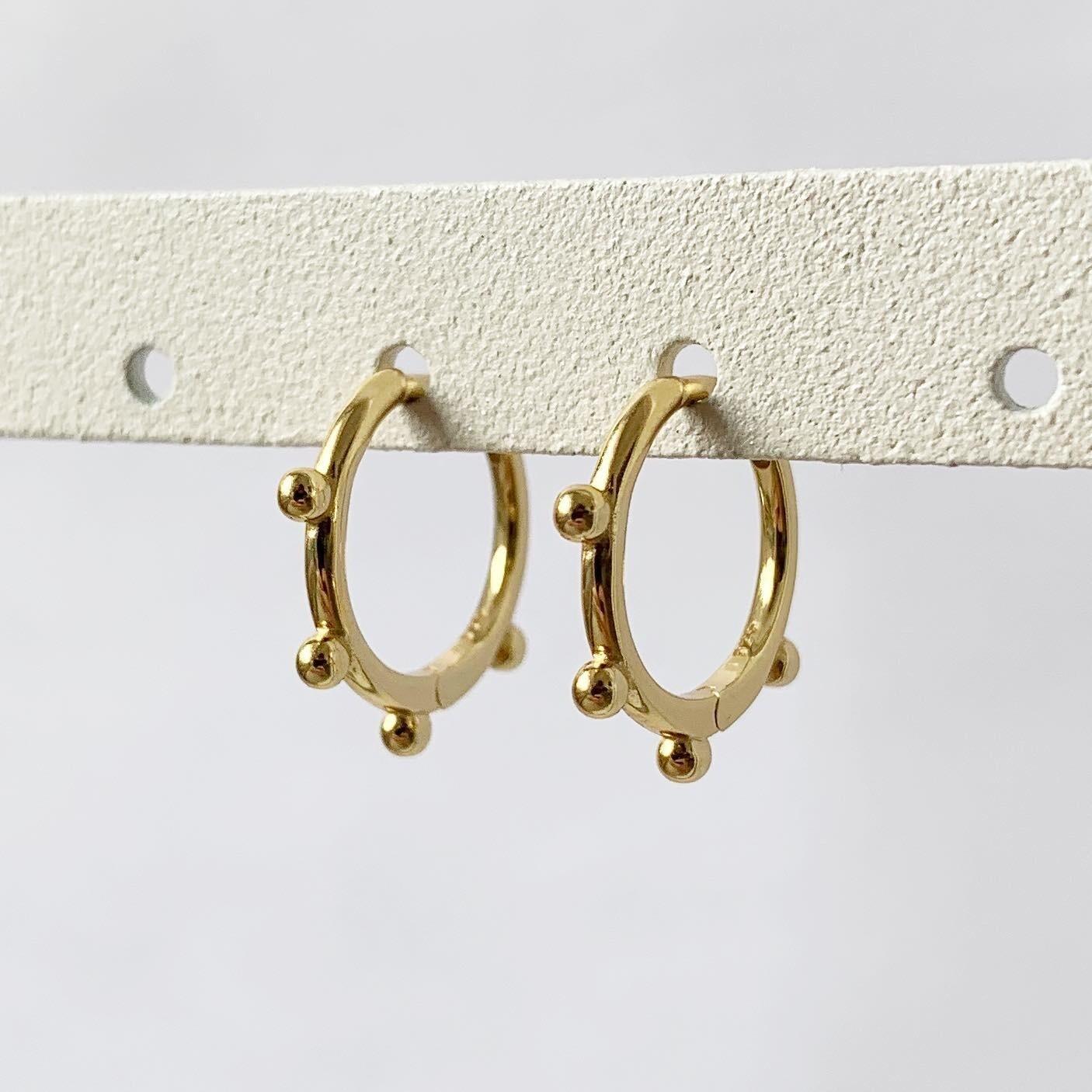 4 beads oorringetjes 925 sterling zilver/goud