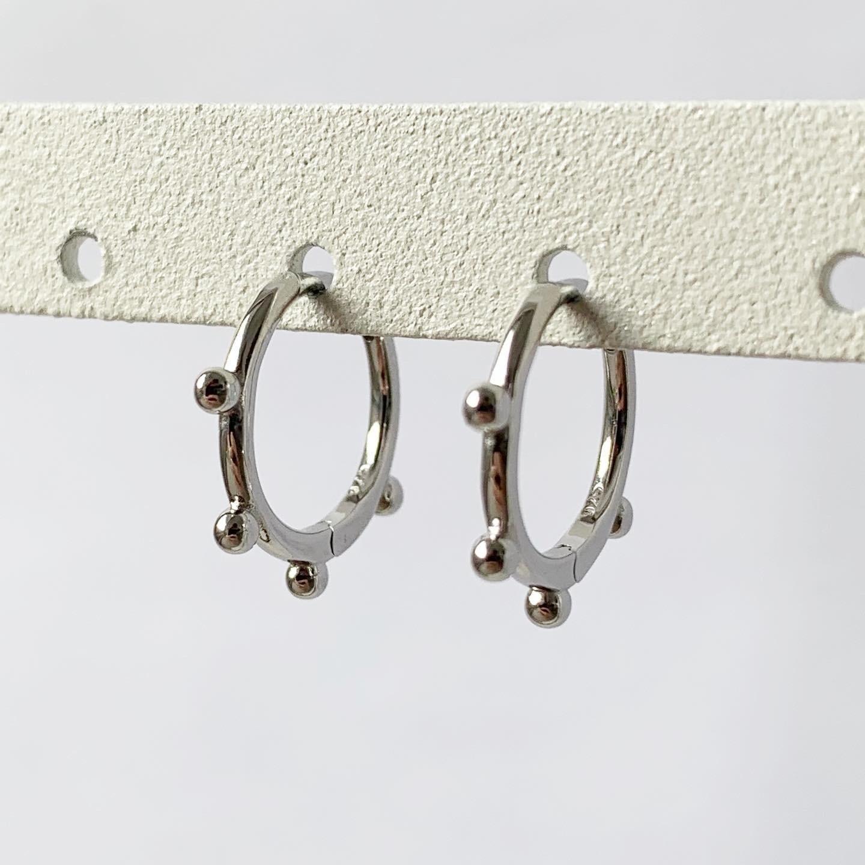 4 beads oorringetjes 925 sterling zilver