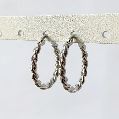 Gedraaide oorringen 18 mm 925 sterling zilver