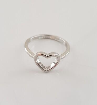 Hartjes ring zilver