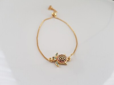 Schildpad armbandje goud