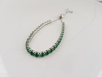 Mini strass steentjes armbandje zilver/groen