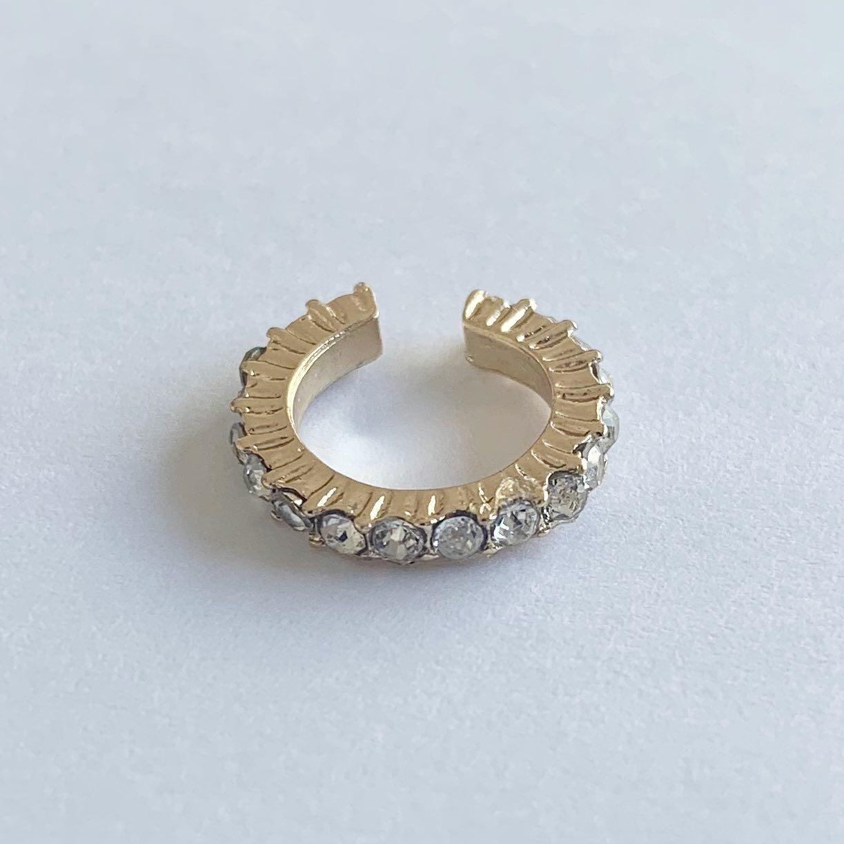 Earcuff met strass steentjes diamant/goud per stuk