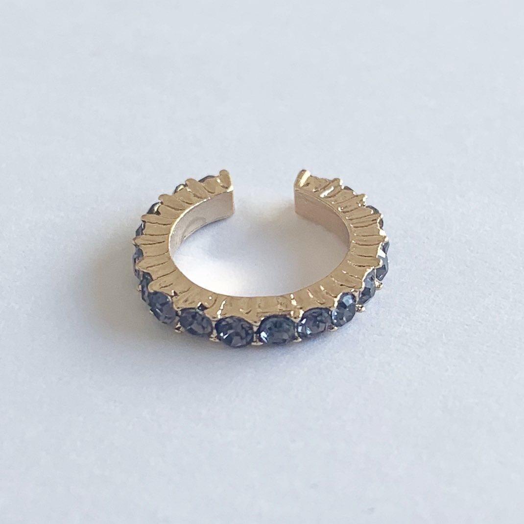 Earcuff met strass steentjes blauw/goud per stuk