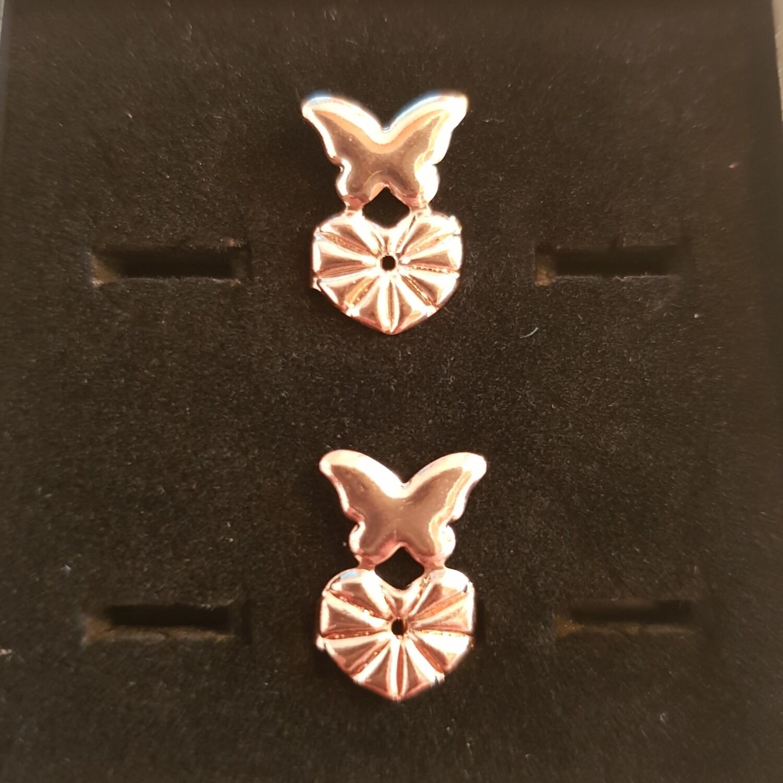 Oorbellifters vlinder rose goud