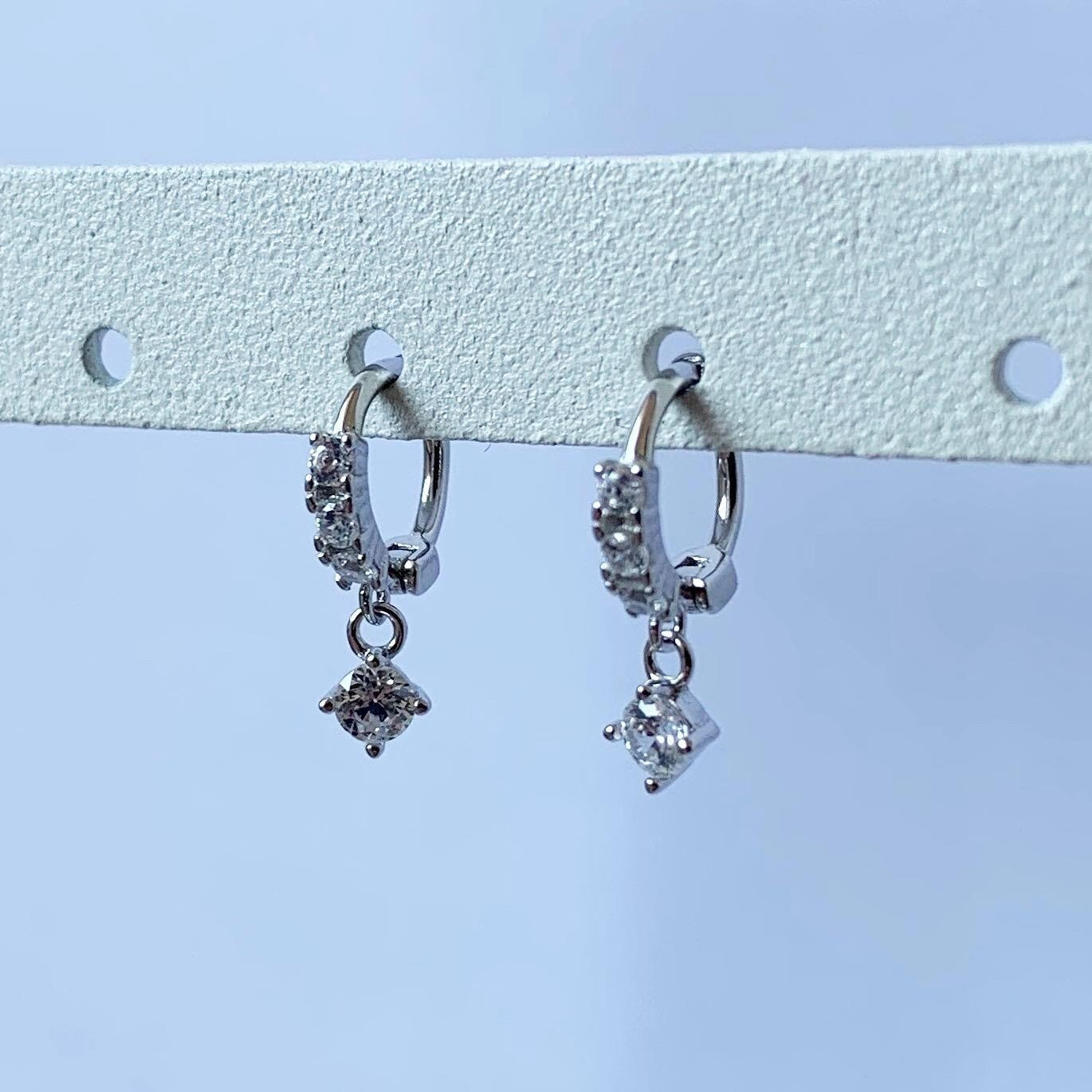Tiny hangend diamantje oorringetjes 925 sterling zilver 6 mm
