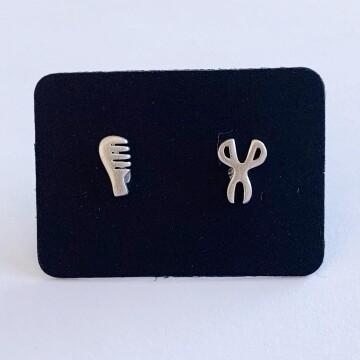 Kappers setje oorknopjes 925 sterling zilver