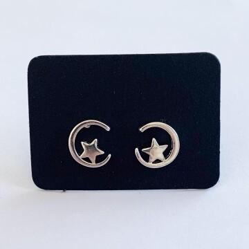 Halve maan met ster oorknopjes 925 sterling zilver