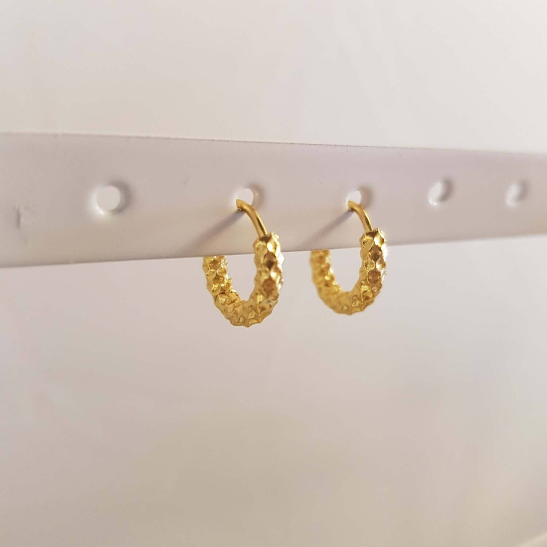 Geribbelde oorringetjes goud/925 sterling zilver 8 mm