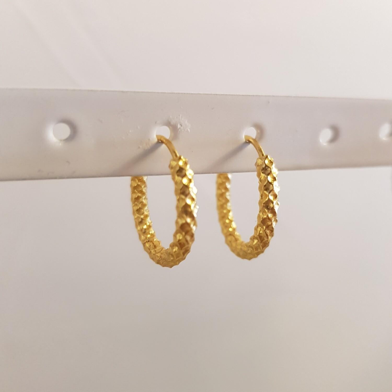 Geribbelde oorringetjes goud/925 sterling zilver 12 mm