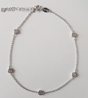 Enkelbandje met strass steentjes 925 sterling zilver