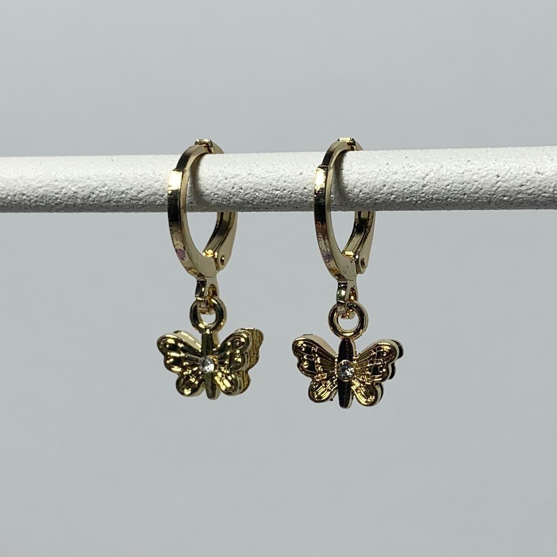 Butterfly met strass steentje oorbellen kleur: goud