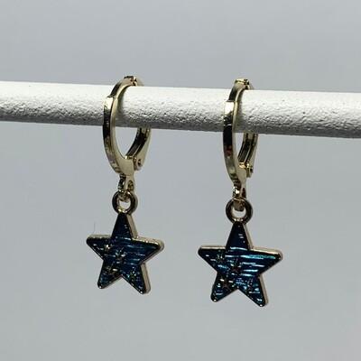 Blauwe sterren oorbellen kleur: goud