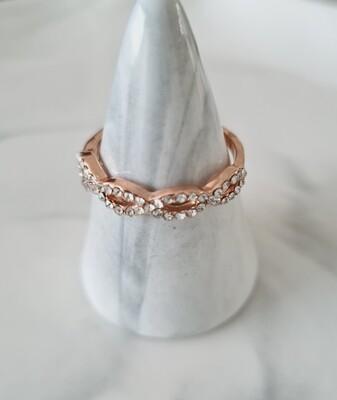 Ovale diamantjes ring kleur: rosé goud