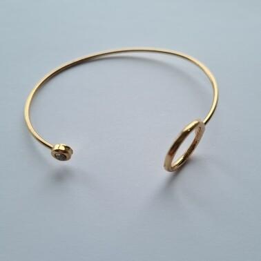 Open coin met strass steentje armband kleur: goud