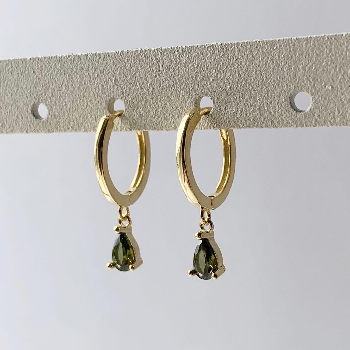 Groene druppel oorringetjes goud/925 sterling zilver