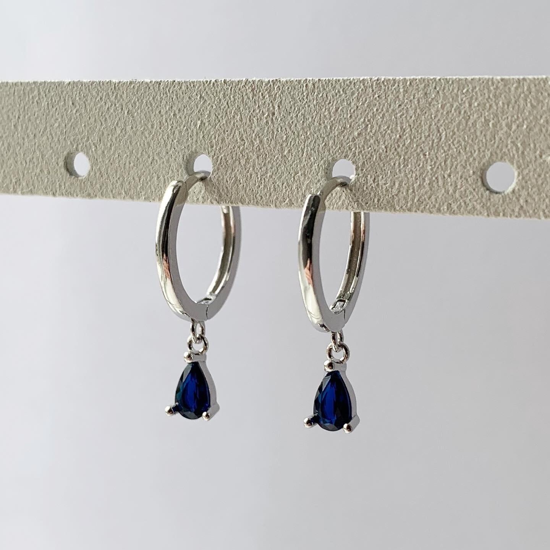 Blauwe druppel oorringetjes 925 sterling zilver
