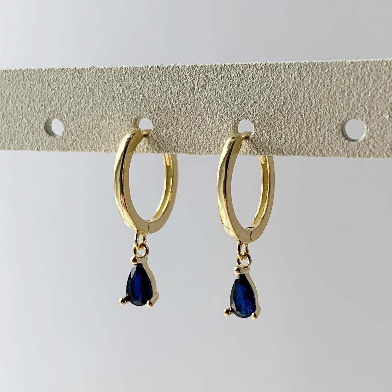 Blauwe druppel oorringetjes goud/925 sterling zilver