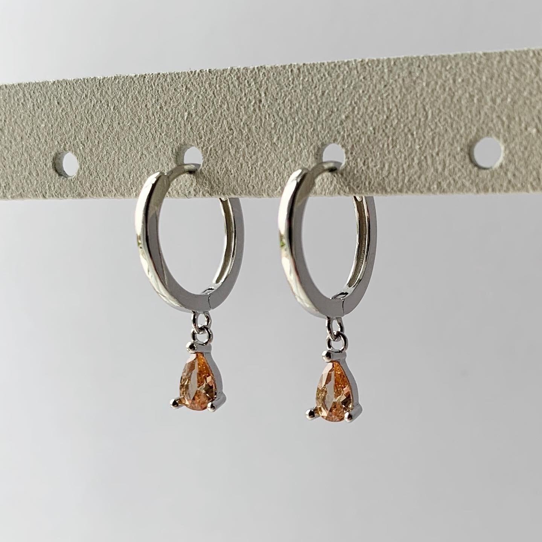 Oranje druppel oorringetjes 925 sterling zilver