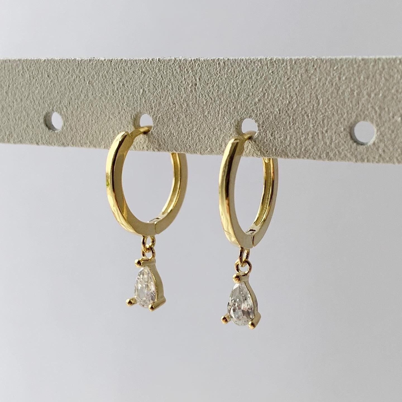 Diamant druppel oorringetjes goud/925 sterling zilver