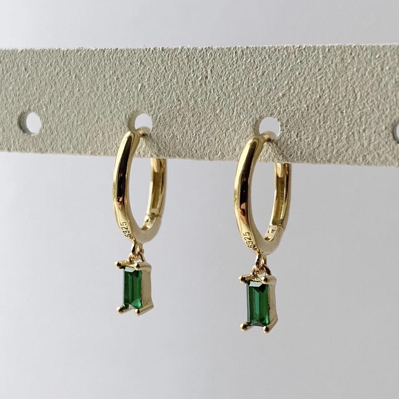 Groen staafje oorringetjes goud/925 sterling zilver