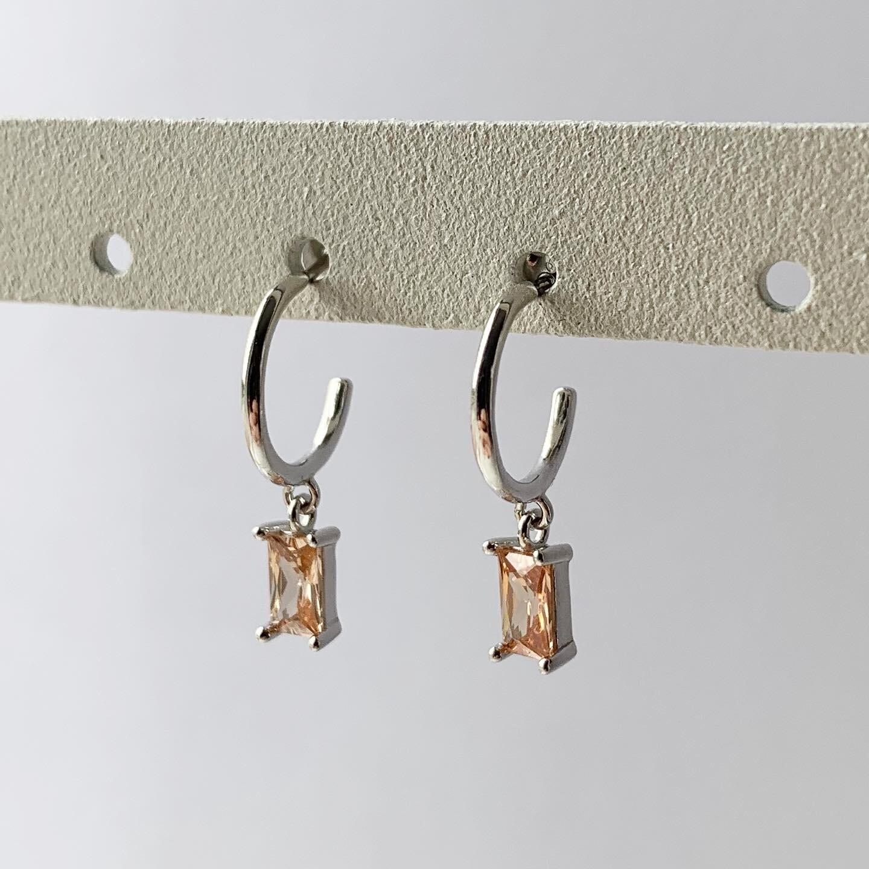 Oranje rechthoekige oorringetjes 925 sterling zilver